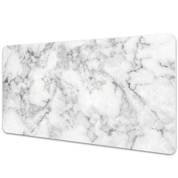 Large desk pad PVC protector white marble