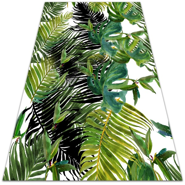 Vinyl floor mat palm leaves